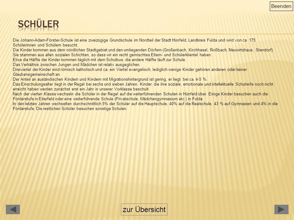zur Übersicht Die Johann-Adam-Förster-Schule ist eine zweizügige Grundschule im Nordteil der Stadt Hünfeld, Landkreis Fulda und wird von ca.