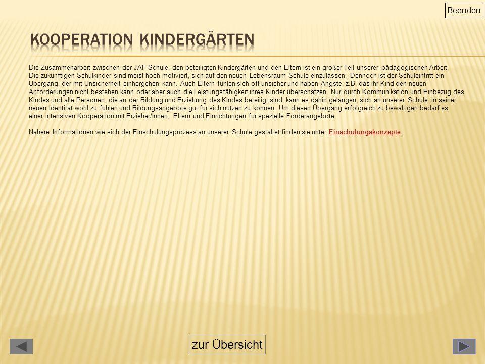Die Zusammenarbeit zwischen der JAF-Schule, den beteiligten Kindergärten und den Eltern ist ein großer Teil unserer pädagogischen Arbeit.