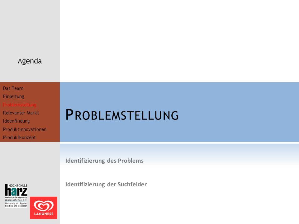 P ROBLEMSTELLUNG Agenda Identifizierung des Problems Identifizierung der Suchfelder Das Team Einleitung Problemstellung Relevanter Markt Ideenfindung