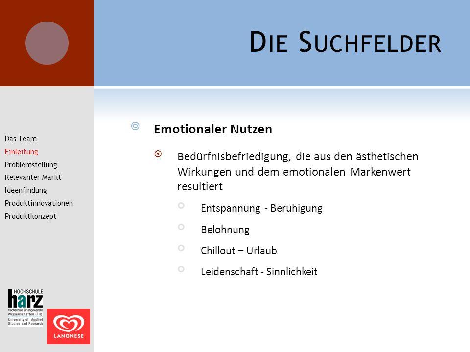 D IE S UCHFELDER  Emotionaler Nutzen  Bedürfnisbefriedigung, die aus den ästhetischen Wirkungen und dem emotionalen Markenwert resultiert Entspannun