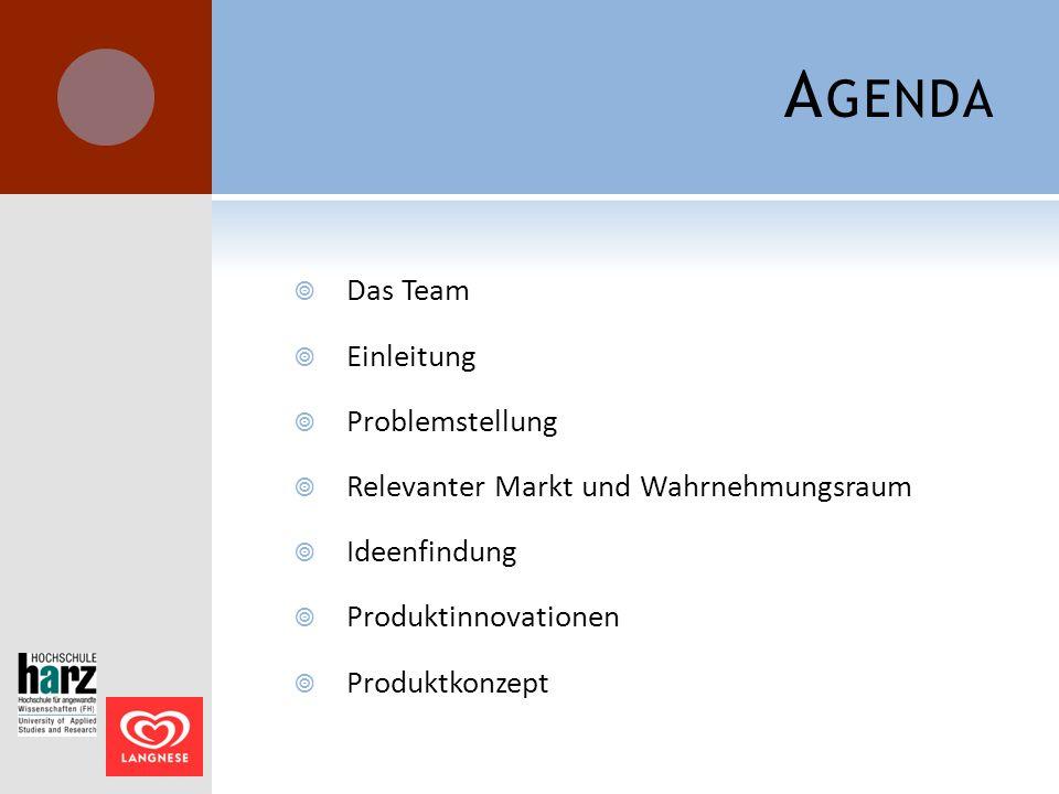 A GENDA  Das Team  Einleitung  Problemstellung  Relevanter Markt und Wahrnehmungsraum  Ideenfindung  Produktinnovationen  Produktkonzept
