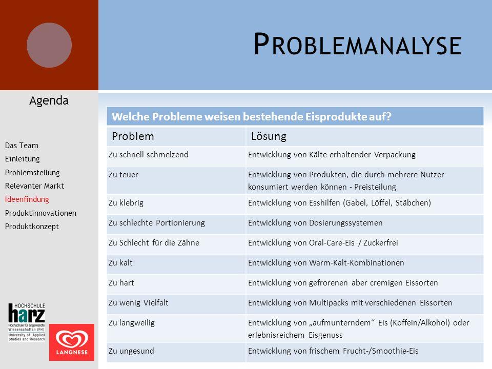 P ROBLEMANALYSE Agenda Welche Probleme weisen bestehende Eisprodukte auf? ProblemLösung Zu schnell schmelzendEntwicklung von Kälte erhaltender Verpack