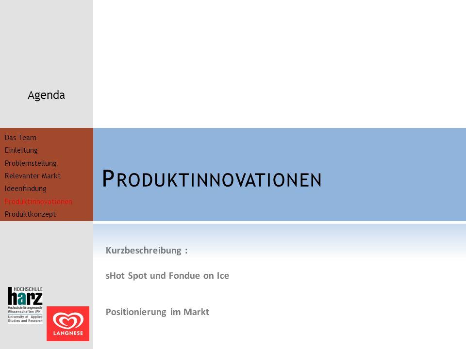P RODUKTINNOVATIONEN Agenda Kurzbeschreibung : sHot Spot und Fondue on Ice Positionierung im Markt Das Team Einleitung Problemstellung Relevanter Mark