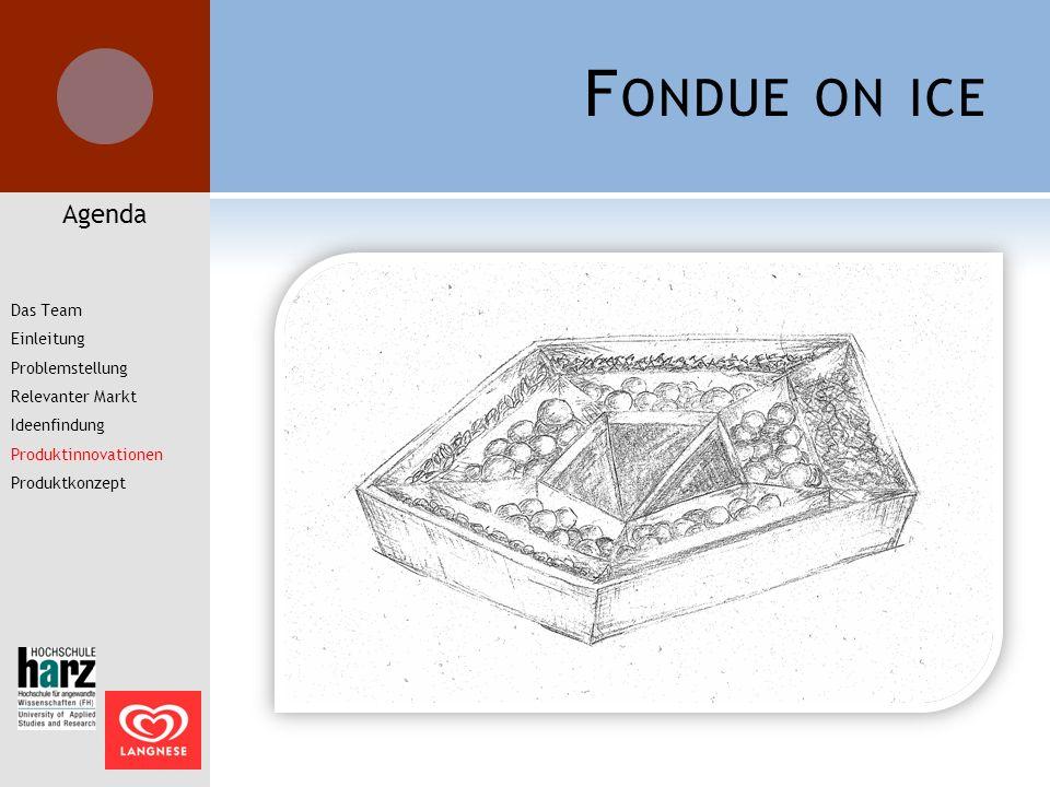 F ONDUE ON ICE Agenda Das Team Einleitung Problemstellung Relevanter Markt Ideenfindung Produktinnovationen Produktkonzept