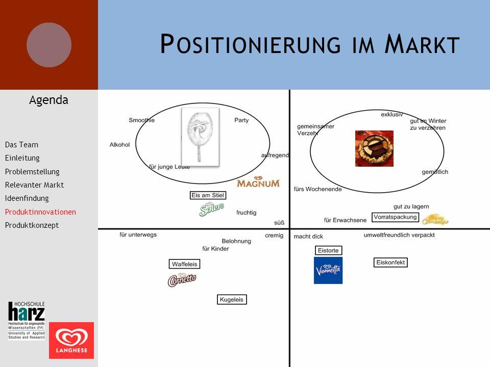 P OSITIONIERUNG IM M ARKT Agenda Das Team Einleitung Problemstellung Relevanter Markt Ideenfindung Produktinnovationen Produktkonzept