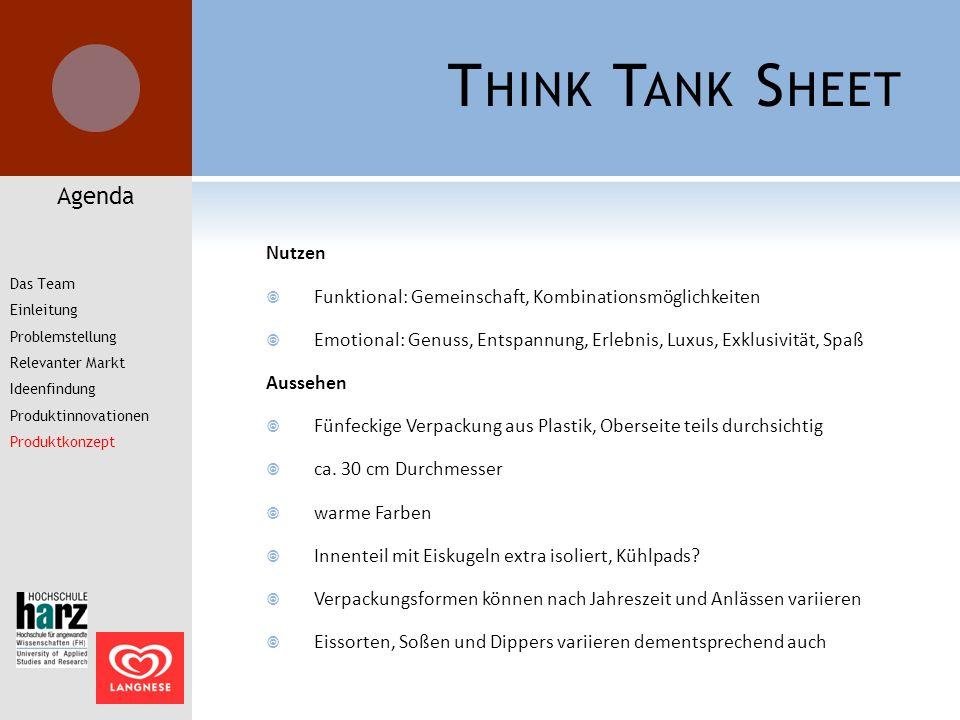 T HINK T ANK S HEET Nutzen  Funktional: Gemeinschaft, Kombinationsmöglichkeiten  Emotional: Genuss, Entspannung, Erlebnis, Luxus, Exklusivität, Spaß