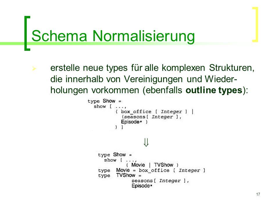 17 Schema Normalisierung  erstelle neue types für alle komplexen Strukturen, die innerhalb von Vereinigungen und Wieder- holungen vorkommen (ebenfall