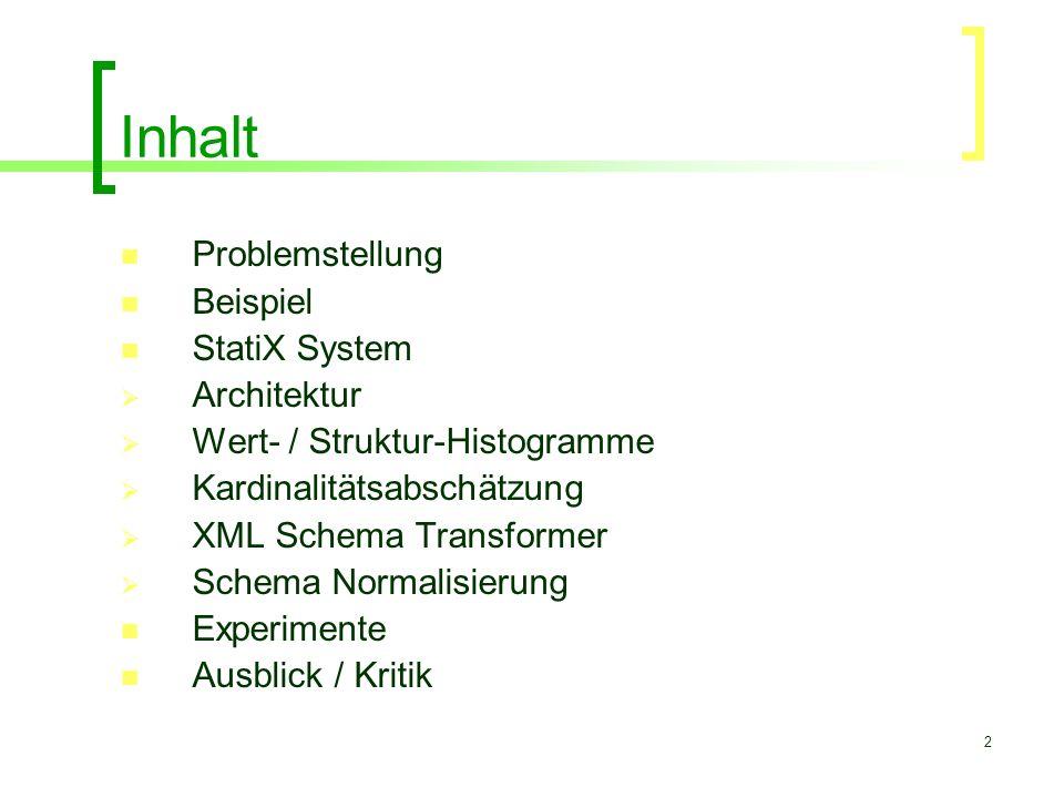 2 Inhalt Problemstellung Beispiel StatiX System  Architektur  Wert- / Struktur-Histogramme  Kardinalitätsabschätzung  XML Schema Transformer  Sch