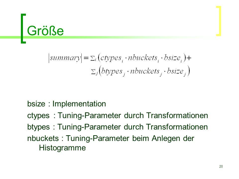 20 Größe bsize : Implementation ctypes : Tuning-Parameter durch Transformationen btypes : Tuning-Parameter durch Transformationen nbuckets : Tuning-Pa