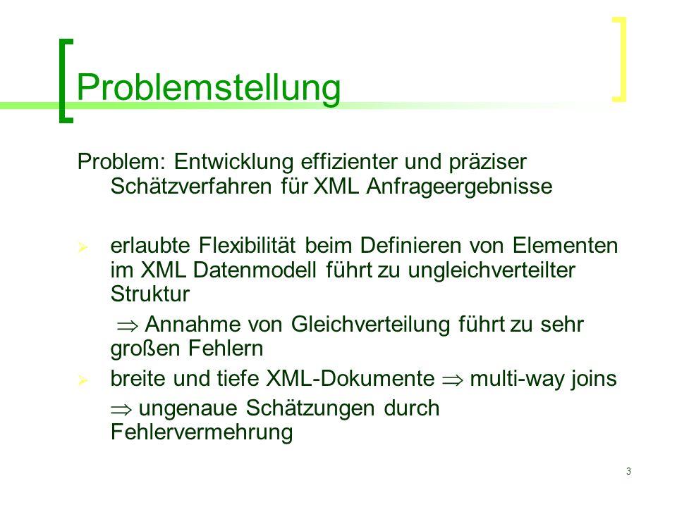 3 Problemstellung Problem: Entwicklung effizienter und präziser Schätzverfahren für XML Anfrageergebnisse  erlaubte Flexibilität beim Definieren von