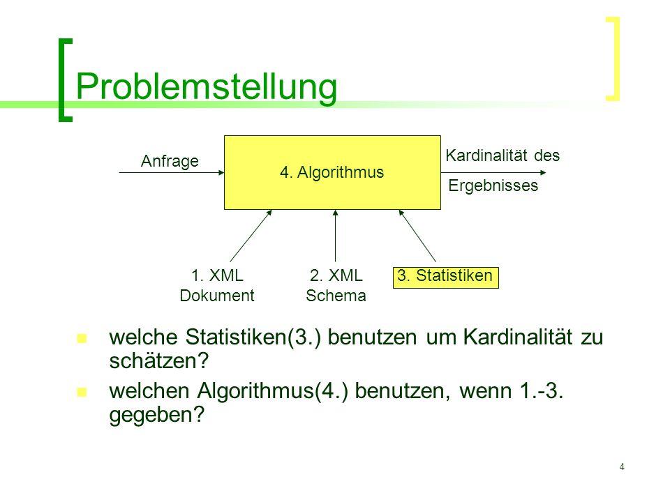 4 Problemstellung welche Statistiken(3.) benutzen um Kardinalität zu schätzen? welchen Algorithmus(4.) benutzen, wenn 1.-3. gegeben? 4. Algorithmus An