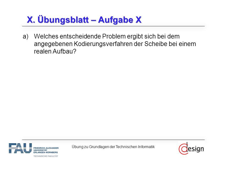 X. Übungsblatt – Aufgabe X a)Welches entscheidende Problem ergibt sich bei dem angegebenen Kodierungsverfahren der Scheibe bei einem realen Aufbau? Üb