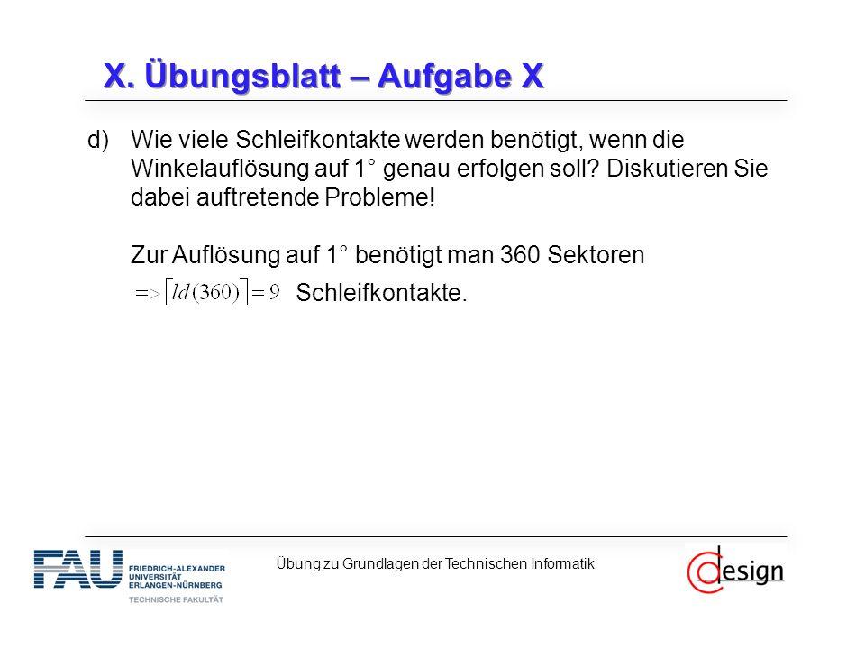 X. Übungsblatt – Aufgabe X d)Wie viele Schleifkontakte werden benötigt, wenn die Winkelauflösung auf 1° genau erfolgen soll? Diskutieren Sie dabei auf
