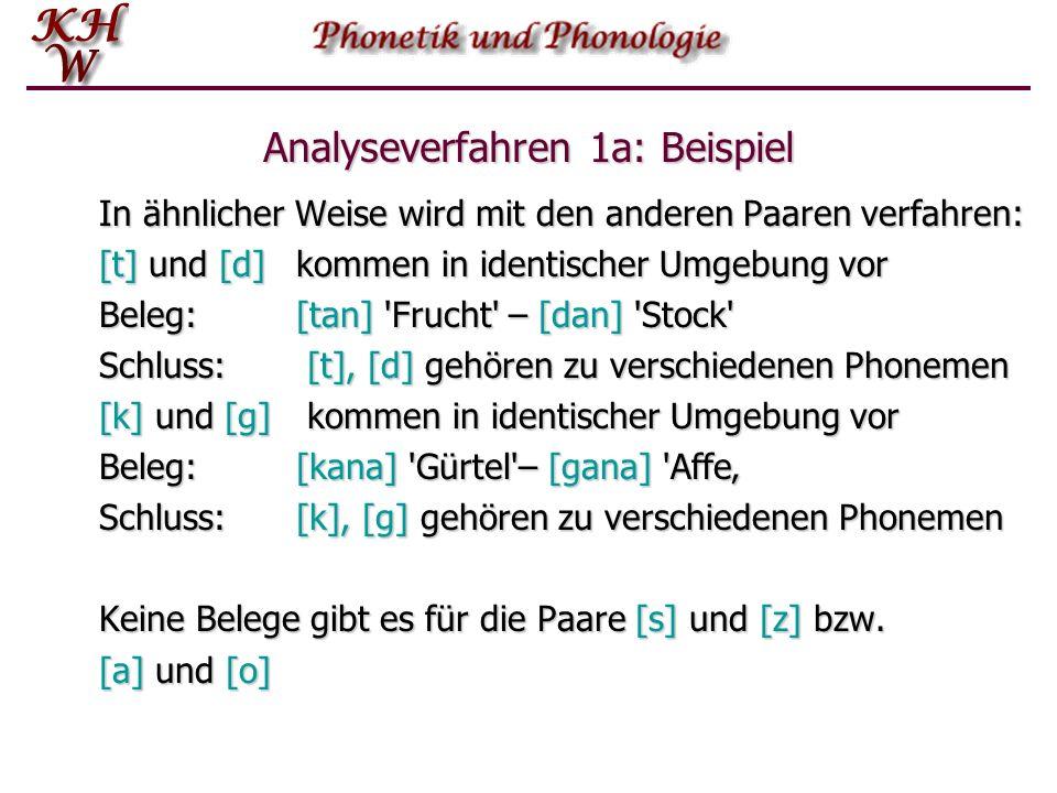 Analyseverfahren 1a: Beispiel In ähnlicher Weise wird mit den anderen Paaren verfahren: [t] und [d]kommen in identischer Umgebung vor Beleg: [tan] 'Fr