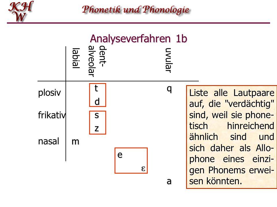 Analyseverfahren 1b tqtqtqtqdszmeɛa Liste alle Lautpaare auf, die