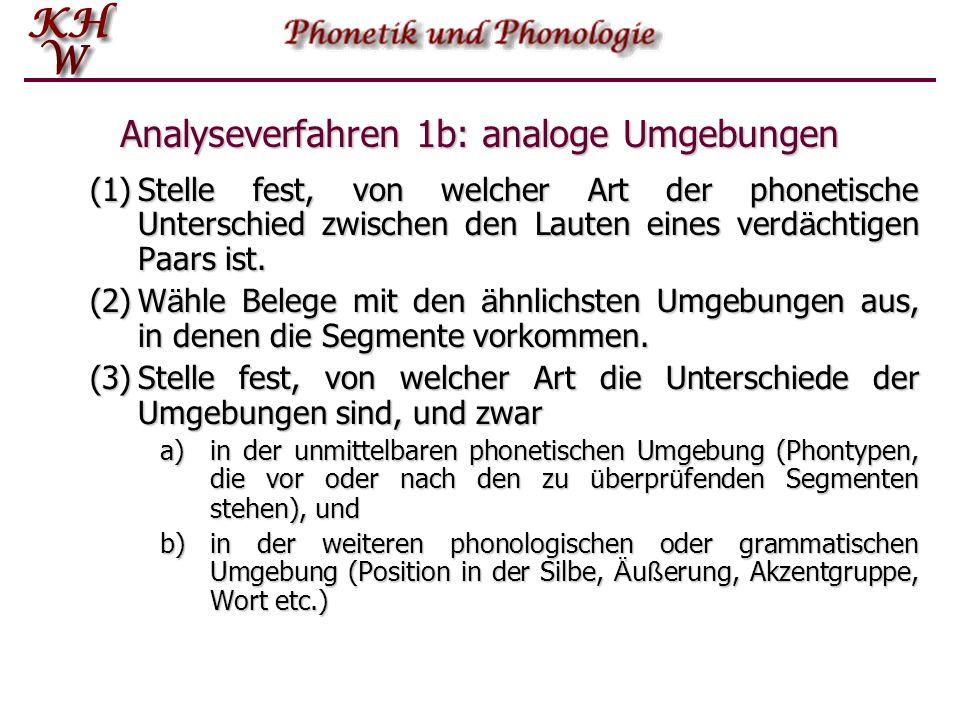 Analyseverfahren 1b: analoge Umgebungen (1)Stelle fest, von welcher Art der phonetische Unterschied zwischen den Lauten eines verd ä chtigen Paars ist
