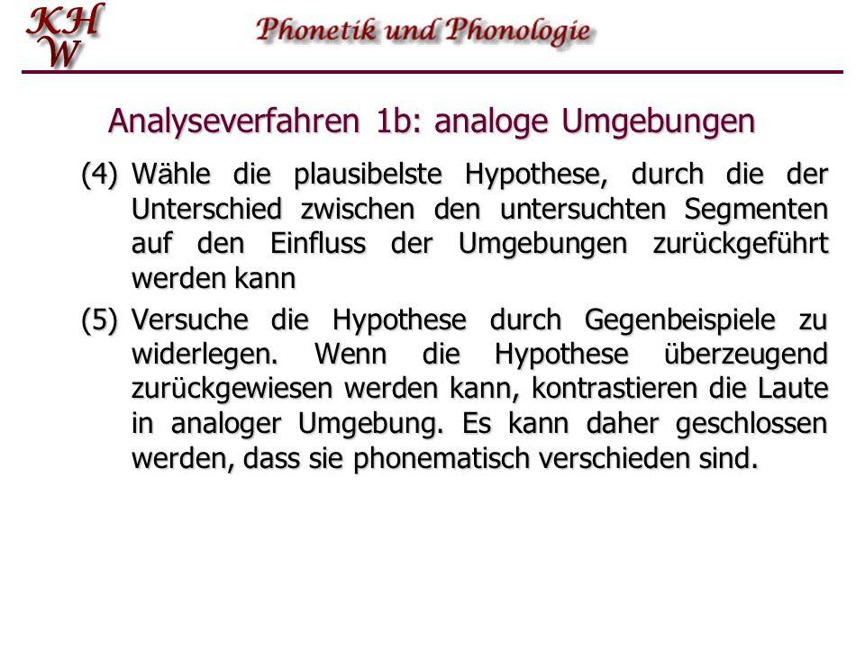 Analyseverfahren 1b: analoge Umgebungen (4)W ä hle die plausibelste Hypothese, durch die der Unterschied zwischen den untersuchten Segmenten auf den E