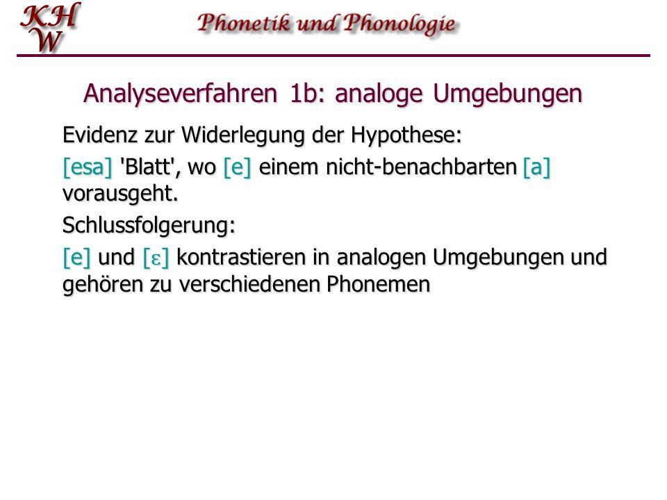 Analyseverfahren 1b: analoge Umgebungen Evidenz zur Widerlegung der Hypothese: [esa] 'Blatt', wo [e] einem nicht-benachbarten [a] vorausgeht. Schlussf