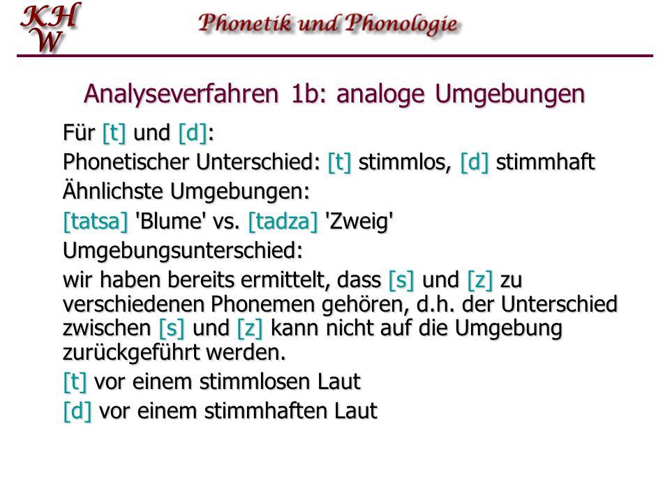 Analyseverfahren 1b: analoge Umgebungen Für [t] und [d]: Phonetischer Unterschied: [t] stimmlos, [d] stimmhaft Ähnlichste Umgebungen: [tatsa] 'Blume'