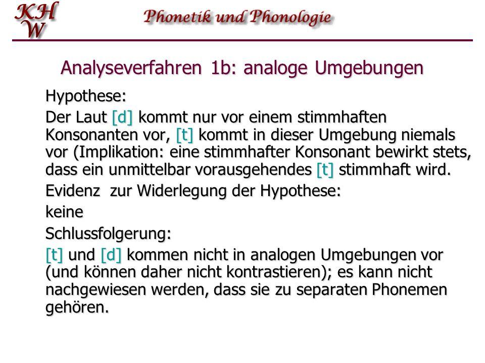 Analyseverfahren 1b: analoge Umgebungen Hypothese: Der Laut [d] kommt nur vor einem stimmhaften Konsonanten vor, [t] kommt in dieser Umgebung niemals