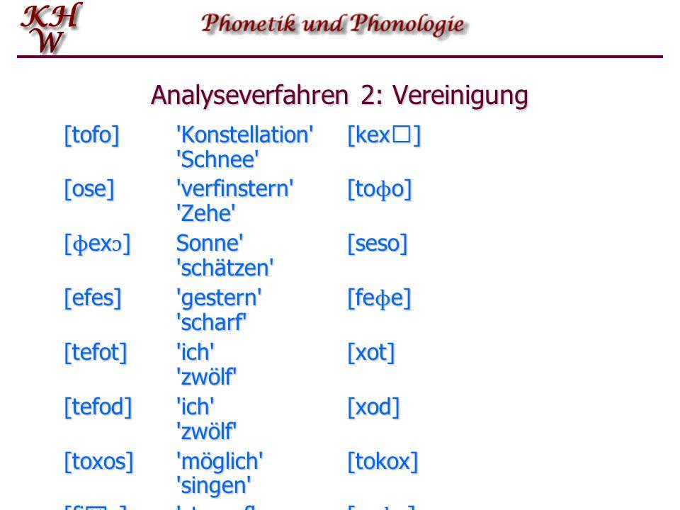 Analyseverfahren 2: Vereinigung [tofo]'Konstellation'[kex] 'Schnee' [ose]'verfinstern'[to ɸ o] 'Zehe' [ ɸ ex ɔ ]Sonne'[seso] 'schätzen' [efes]'gester