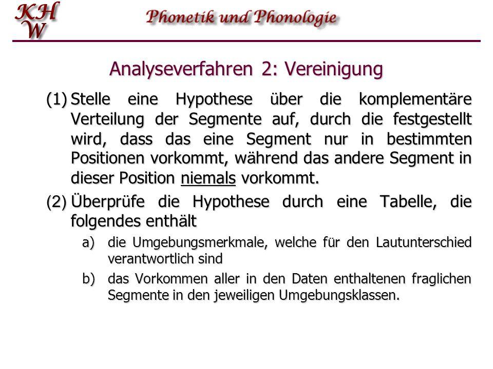 Analyseverfahren 2: Vereinigung (1)Stelle eine Hypothese ü ber die komplement ä re Verteilung der Segmente auf, durch die festgestellt wird, dass das