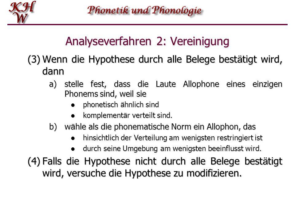 Analyseverfahren 2: Vereinigung (3)Wenn die Hypothese durch alle Belege best ä tigt wird, dann a)stelle fest, dass die Laute Allophone eines einzigen