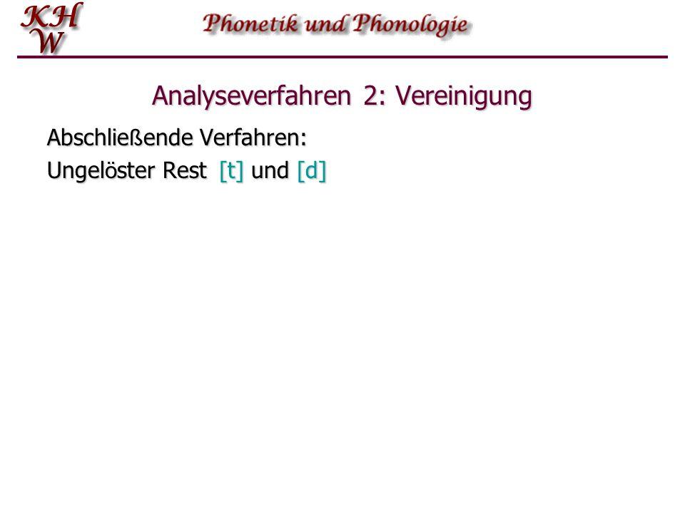 Analyseverfahren 2: Vereinigung Abschlie ß ende Verfahren: Ungel ö ster Rest [t] und [d]
