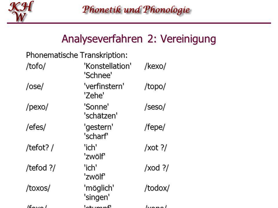 Analyseverfahren 2: Vereinigung Phonematische Transkription: /tofo/'Konstellation' /kexo/ 'Schnee' /ose/'verfinstern'/topo/ 'Zehe' /pexo/'Sonne'/seso/