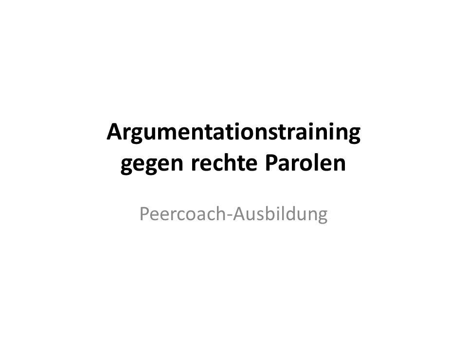 Argumentationstraining gegen rechte Parolen Peercoach-Ausbildung