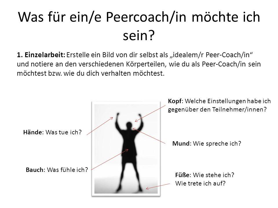 """Was für ein/e Peercoach/in möchte ich sein? 1. Einzelarbeit: Erstelle ein Bild von dir selbst als """"idealem/r Peer-Coach/in"""" und notiere an den verschi"""