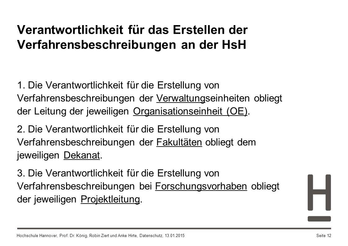 Hochschule Hannover, Prof. Dr. König, Robin Ziert und Anke Hirte, Datenschutz, 13.01.2015 1. Die Verantwortlichkeit für die Erstellung von Verfahrensb
