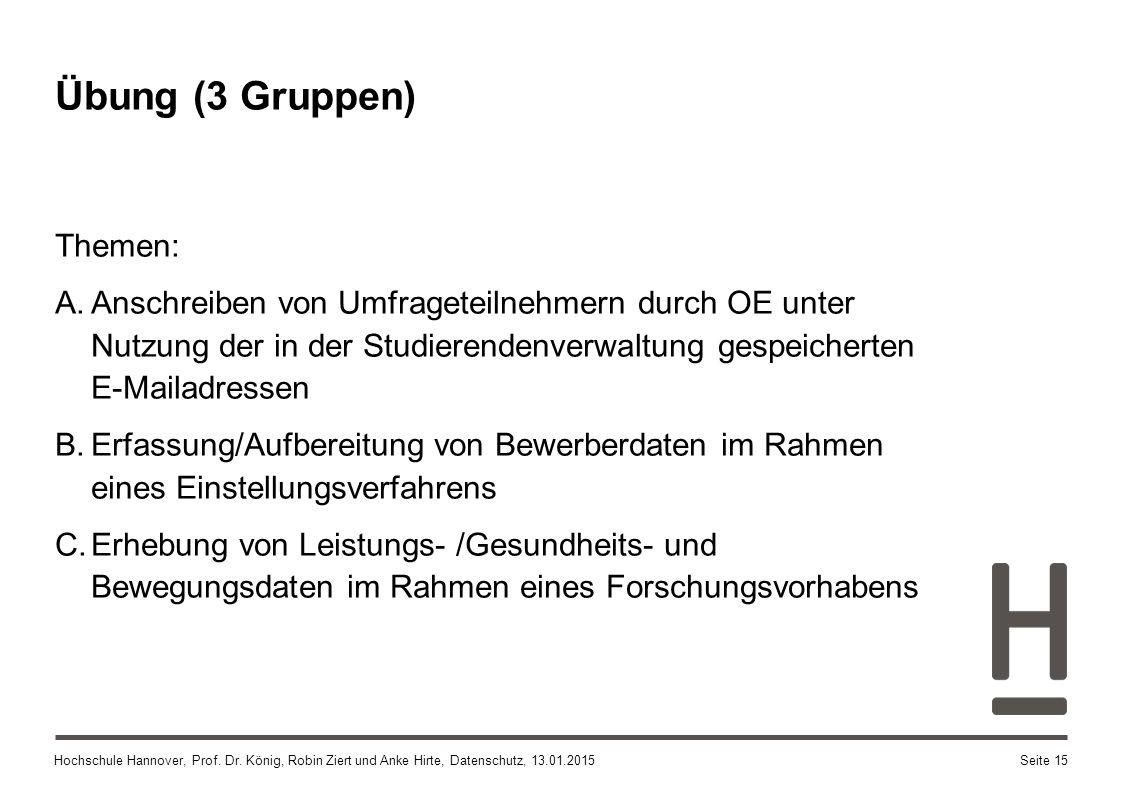 Hochschule Hannover, Prof. Dr. König, Robin Ziert und Anke Hirte, Datenschutz, 13.01.2015 Übung (3 Gruppen) Themen: A.Anschreiben von Umfrageteilnehme