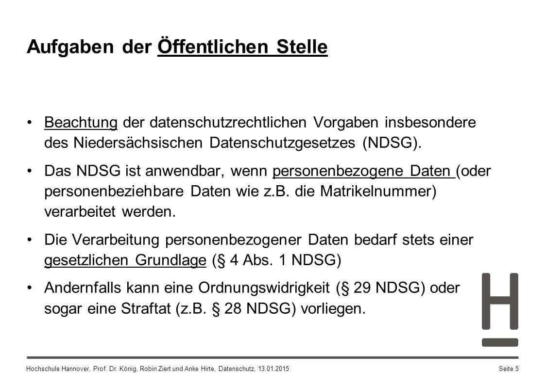 Hochschule Hannover, Prof. Dr. König, Robin Ziert und Anke Hirte, Datenschutz, 13.01.2015 Aufgaben der Öffentlichen Stelle Beachtung der datenschutzre