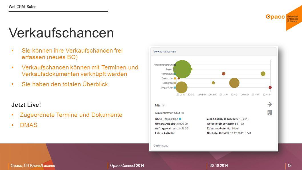 Opacc, CH-Kriens/LucerneOpaccConnect 201430.10.2014 12 Verkaufschancen WebCRM Sales Sie können ihre Verkaufschancen frei erfassen (neues BO) Verkaufschancen können mit Terminen und Verkaufsdokumenten verknüpft werden Sie haben den totalen Überblick Jetzt Live.
