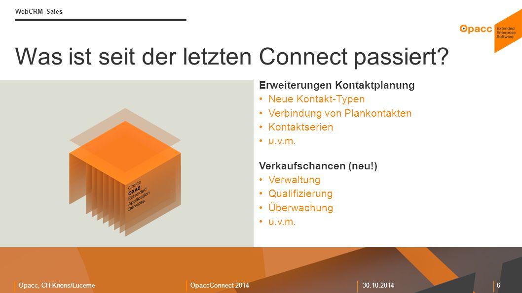 Opacc, CH-Kriens/LucerneOpaccConnect 201430.10.2014 6 Was ist seit der letzten Connect passiert.