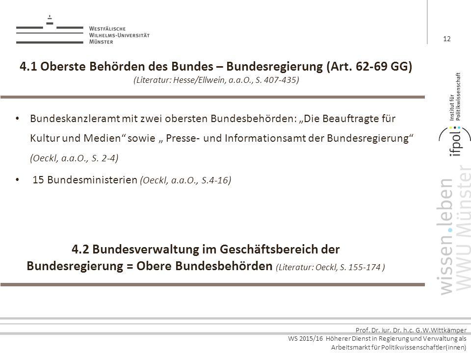 Prof. Dr. iur. Dr. h.c. G.W.Wittkämper WS 2015/16 Höherer Dienst in Regierung und Verwaltung als Arbeitsmarkt für Politikwissenschaftler(innen) 4.1 Ob
