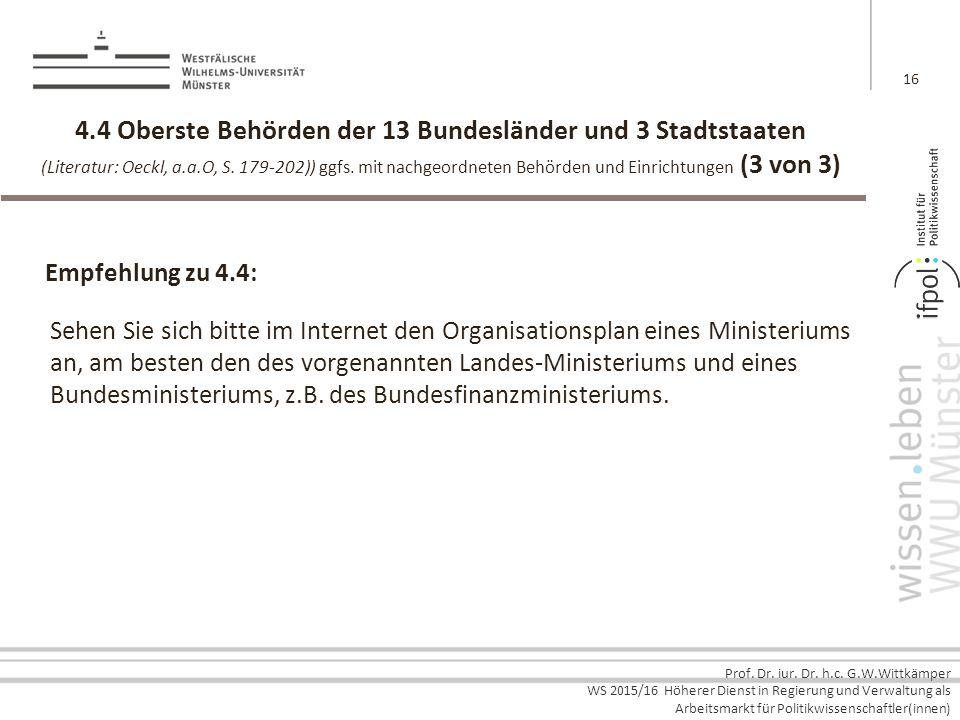 Prof. Dr. iur. Dr. h.c. G.W.Wittkämper WS 2015/16 Höherer Dienst in Regierung und Verwaltung als Arbeitsmarkt für Politikwissenschaftler(innen) 4.4 Ob