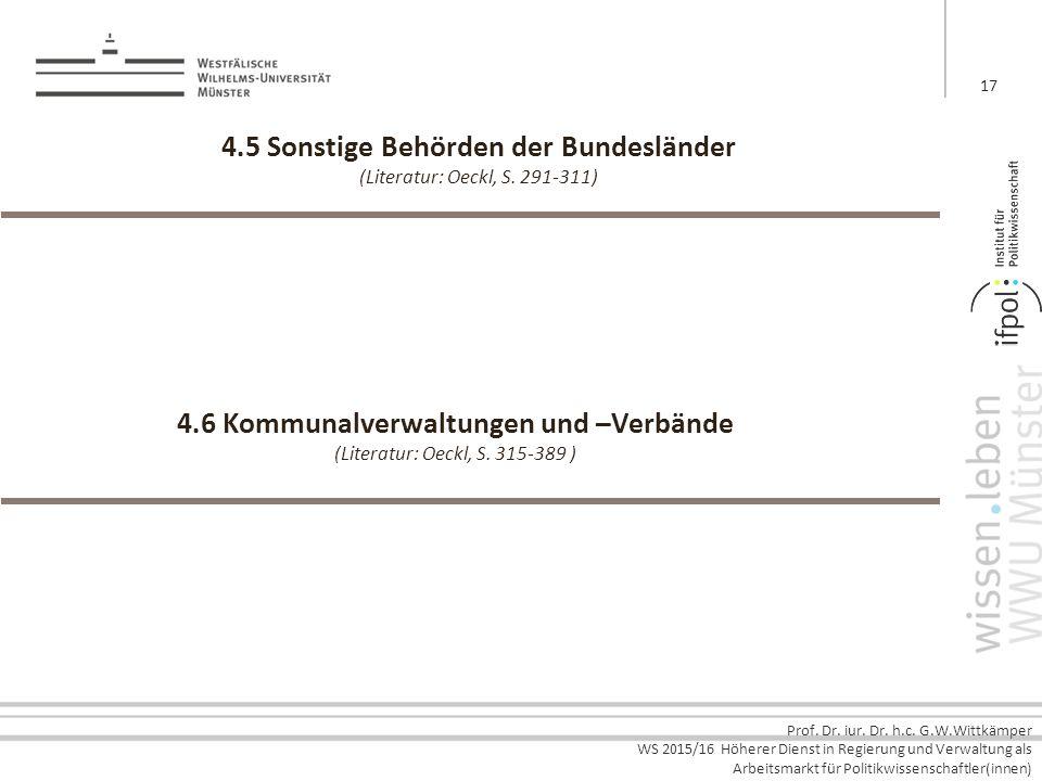 Prof. Dr. iur. Dr. h.c. G.W.Wittkämper WS 2015/16 Höherer Dienst in Regierung und Verwaltung als Arbeitsmarkt für Politikwissenschaftler(innen) 4.5 So