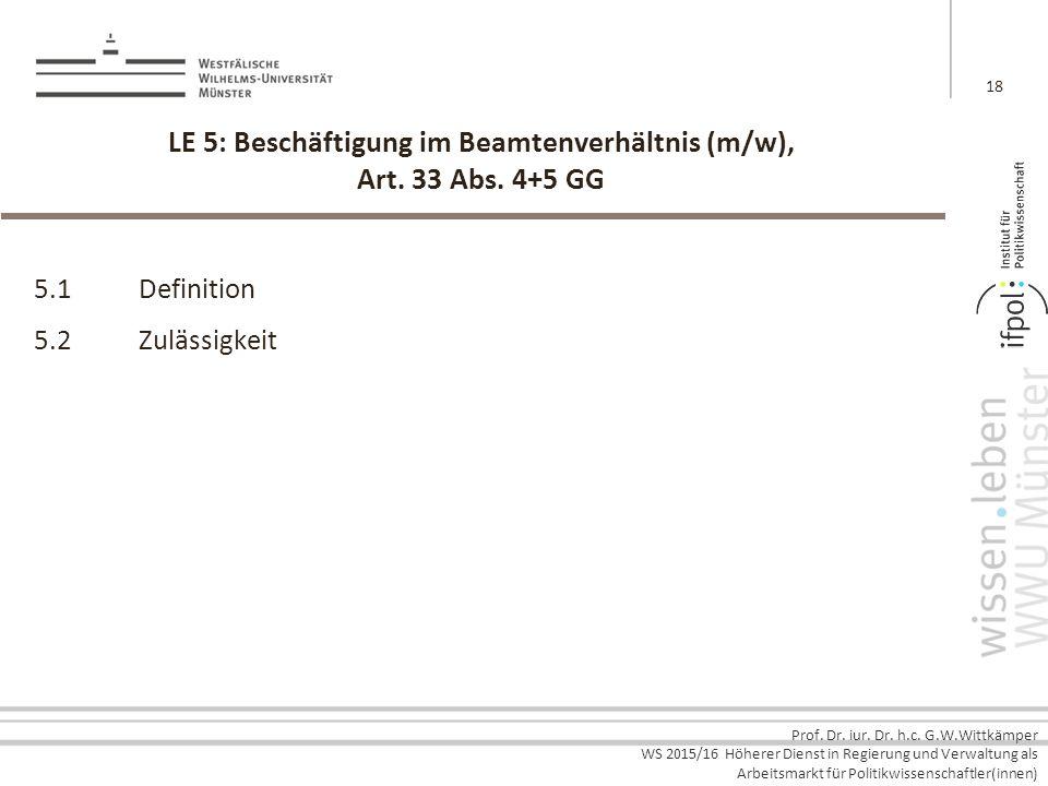 Prof. Dr. iur. Dr. h.c. G.W.Wittkämper WS 2015/16 Höherer Dienst in Regierung und Verwaltung als Arbeitsmarkt für Politikwissenschaftler(innen) LE 5: