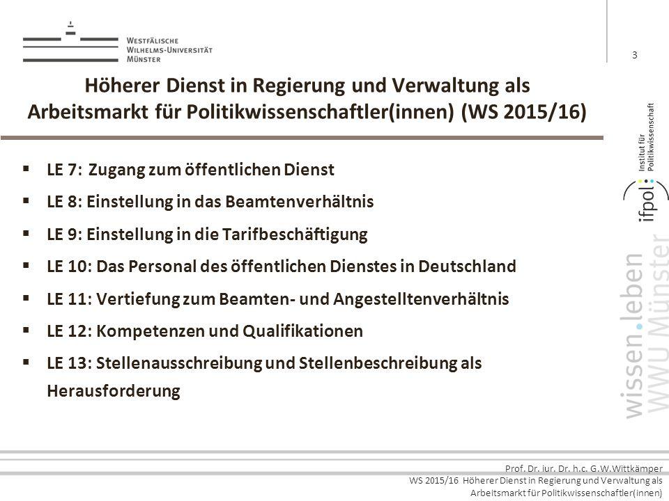 Prof. Dr. iur. Dr. h.c. G.W.Wittkämper WS 2015/16 Höherer Dienst in Regierung und Verwaltung als Arbeitsmarkt für Politikwissenschaftler(innen) Höhere