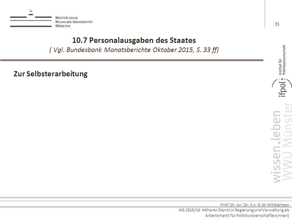Prof. Dr. iur. Dr. h.c. G.W.Wittkämper WS 2015/16 Höherer Dienst in Regierung und Verwaltung als Arbeitsmarkt für Politikwissenschaftler(innen) 10.7 P