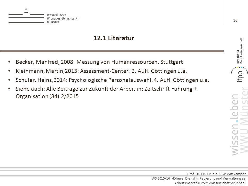 Prof. Dr. iur. Dr. h.c. G.W.Wittkämper WS 2015/16 Höherer Dienst in Regierung und Verwaltung als Arbeitsmarkt für Politikwissenschaftler(innen) 12.1 L
