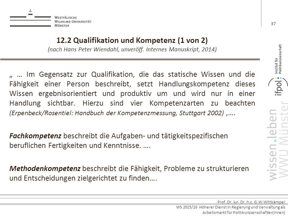 Prof. Dr. iur. Dr. h.c. G.W.Wittkämper WS 2015/16 Höherer Dienst in Regierung und Verwaltung als Arbeitsmarkt für Politikwissenschaftler(innen) 12.2 Q