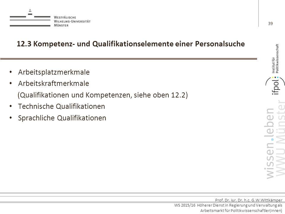 Prof. Dr. iur. Dr. h.c. G.W.Wittkämper WS 2015/16 Höherer Dienst in Regierung und Verwaltung als Arbeitsmarkt für Politikwissenschaftler(innen) 12.3 K