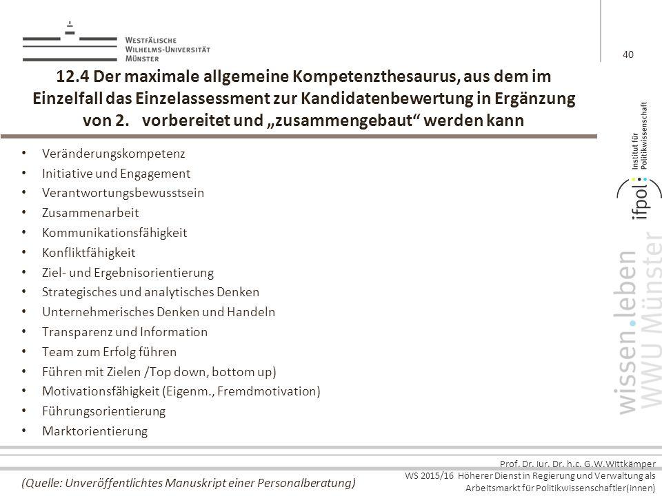 Prof. Dr. iur. Dr. h.c. G.W.Wittkämper WS 2015/16 Höherer Dienst in Regierung und Verwaltung als Arbeitsmarkt für Politikwissenschaftler(innen) 12.4 D