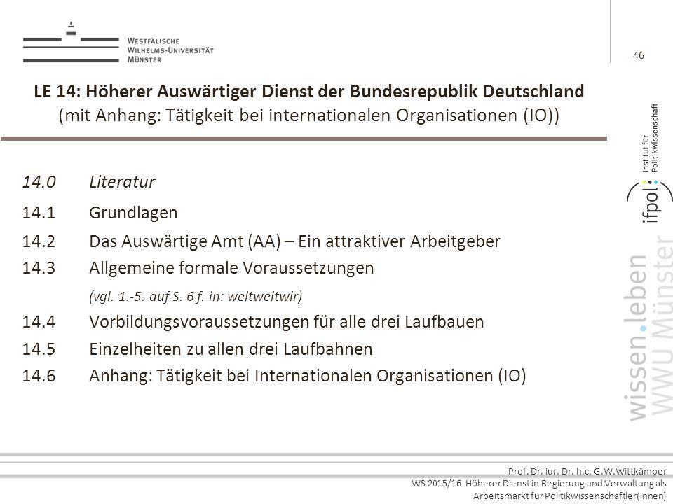 Prof. Dr. iur. Dr. h.c. G.W.Wittkämper WS 2015/16 Höherer Dienst in Regierung und Verwaltung als Arbeitsmarkt für Politikwissenschaftler(innen) LE 14:
