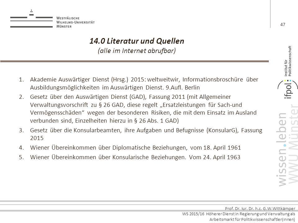 Prof. Dr. iur. Dr. h.c. G.W.Wittkämper WS 2015/16 Höherer Dienst in Regierung und Verwaltung als Arbeitsmarkt für Politikwissenschaftler(innen) 14.0 L