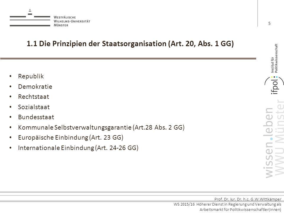 Prof. Dr. iur. Dr. h.c. G.W.Wittkämper WS 2015/16 Höherer Dienst in Regierung und Verwaltung als Arbeitsmarkt für Politikwissenschaftler(innen) 1.1 Di