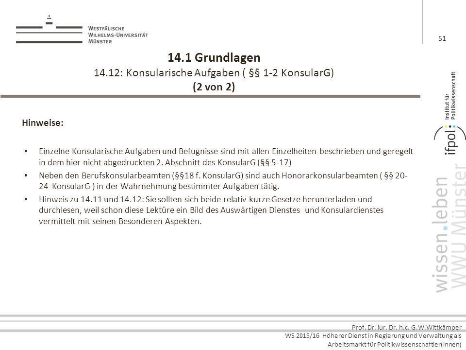 Prof. Dr. iur. Dr. h.c. G.W.Wittkämper WS 2015/16 Höherer Dienst in Regierung und Verwaltung als Arbeitsmarkt für Politikwissenschaftler(innen) 14.1 G